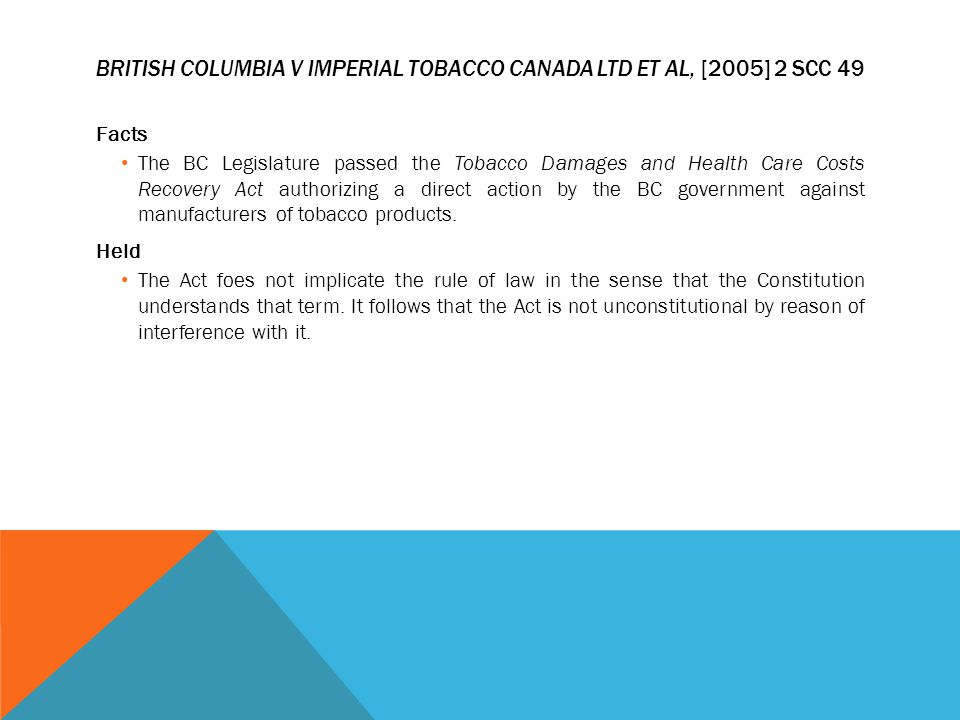 British Columbia v Imperial Tobacco Canada Ltd et al, [2005] 2 SCC 49